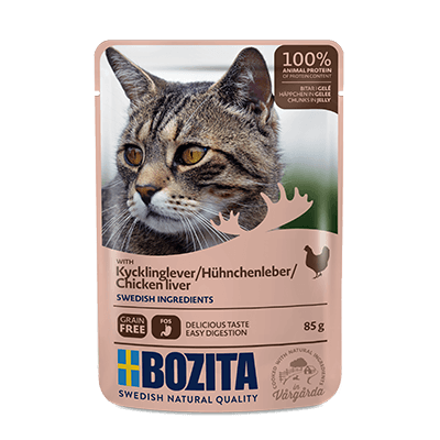 BOZITA WITH CHICKEN LIVER – CHUNKS IN JELLY – POUCH
